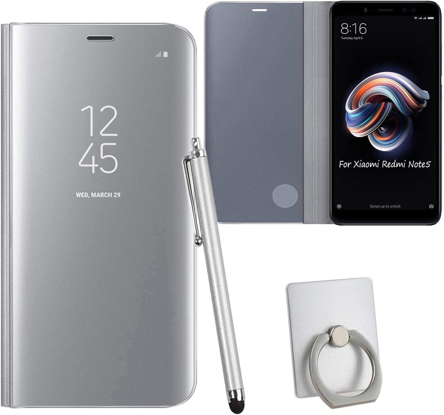 Guran® Mirror Efecto Espejo Funda para Xiaomi Redmi Note 5 Clear View Función de Soporte Plegable Smartphone Funda Protectora (Plata): Amazon.es: Electrónica