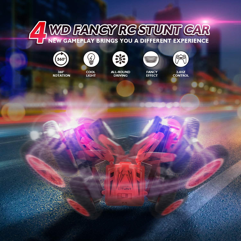 Peradix Stunt RC Car,1:24 Escala Coche Teledirigido 4x4 Doble Lado Rotación de 360 Grados RC Coche Electricidad Duradera 2.4GHz Stunt RC Juguetes Regalos para Niños Adulto