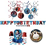 Star Wars Episode 8 The Last Jedi Party Decoration Supplies Birthday Pack: Foil Hanging Swirls, Table Decorating Kit with Centerpiece, and Jumbo Letter Happy Birthday Banner