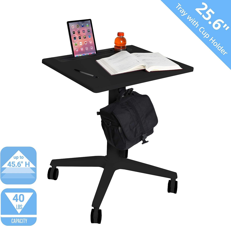 "Seville Classics Airlift 25.6"" XL Sit-Stand Adjustable Student Classroom Cup Holder Mobile Desk, Black"