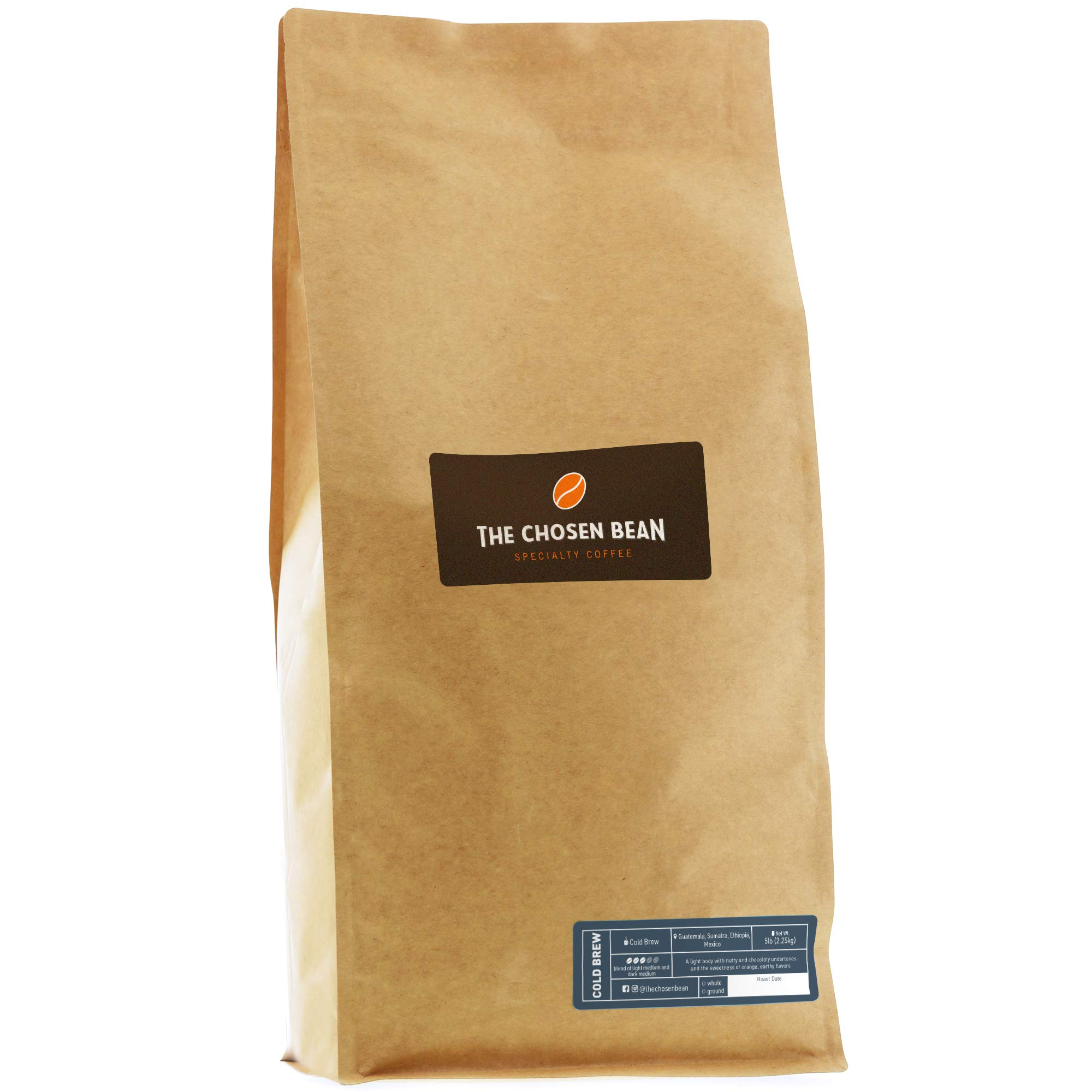 The Chosen Bean Premium Artisan Cold Brew Whole Coffee Beans, Small Batch Roasted, Organic and Fair Trade Roasters, 5 lbs