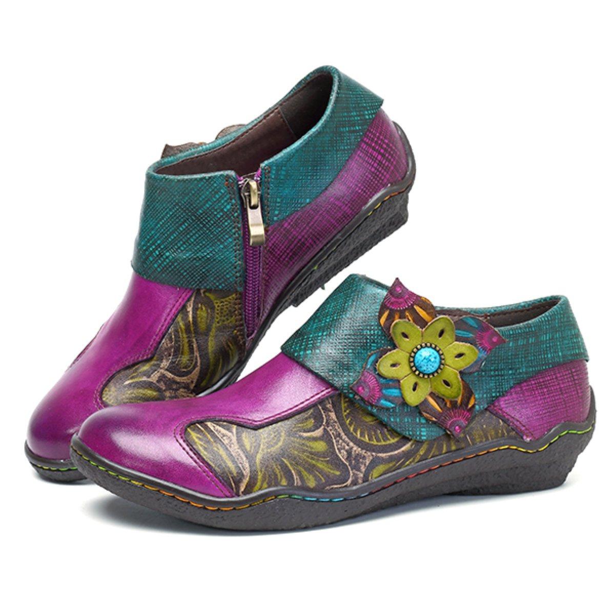Chaussures de Ville en Cuir Talon Plate Souliers Loafters /à Enfilter Printemps Et/é Fait /à la Mains 36-42 Violet Socofy Mocassins Femme