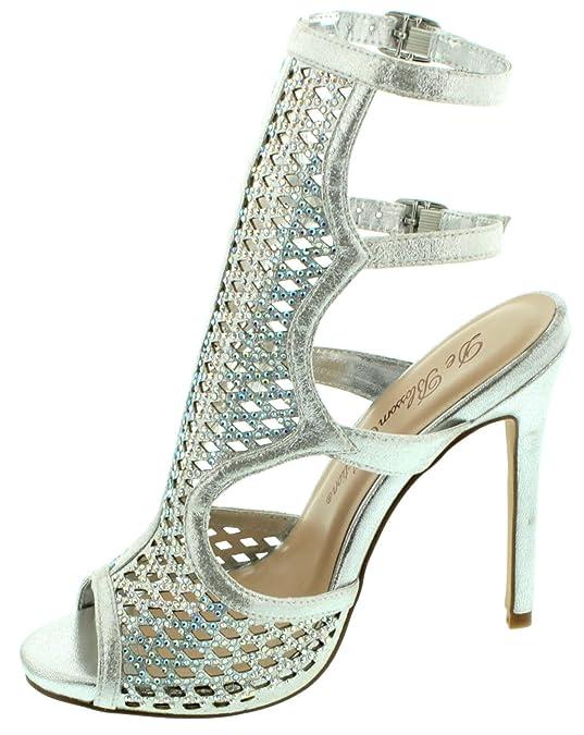 e06dd2b81b7c De Blossom Collection Adobe-1 Women s Adjustable Buckle High Heel Platform  Sandals Rhinstone Stiletto Dress HeelsSilver