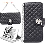iPhone 6 Case,iPhone 6 Black Leather,Candywe#01 Case for iPhone 6 (4.7),iPhone 6 leather,iPhone 6 leather case,iPhone 6 Beautiful Wallet Style Design Leather Case With Stand Case Cover for iPhone 6 4.7 Inch (2014) 004