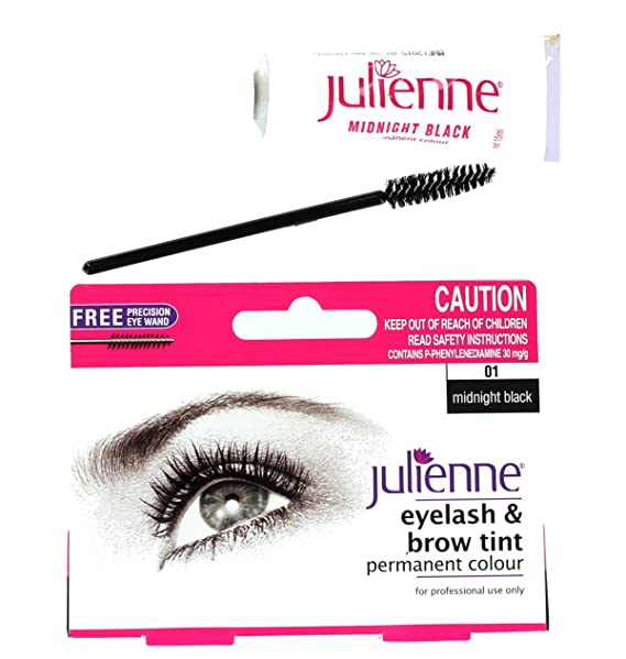 Julienne Eyelash Eyebrow Tinting Kit Dye Midnight Black Brush Tint