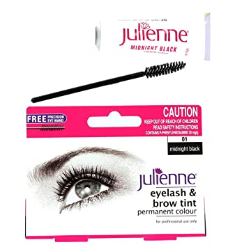 Julienne Eyelash Eyebrow Tinting Kit Dye Midnight Black Brush Tint ...
