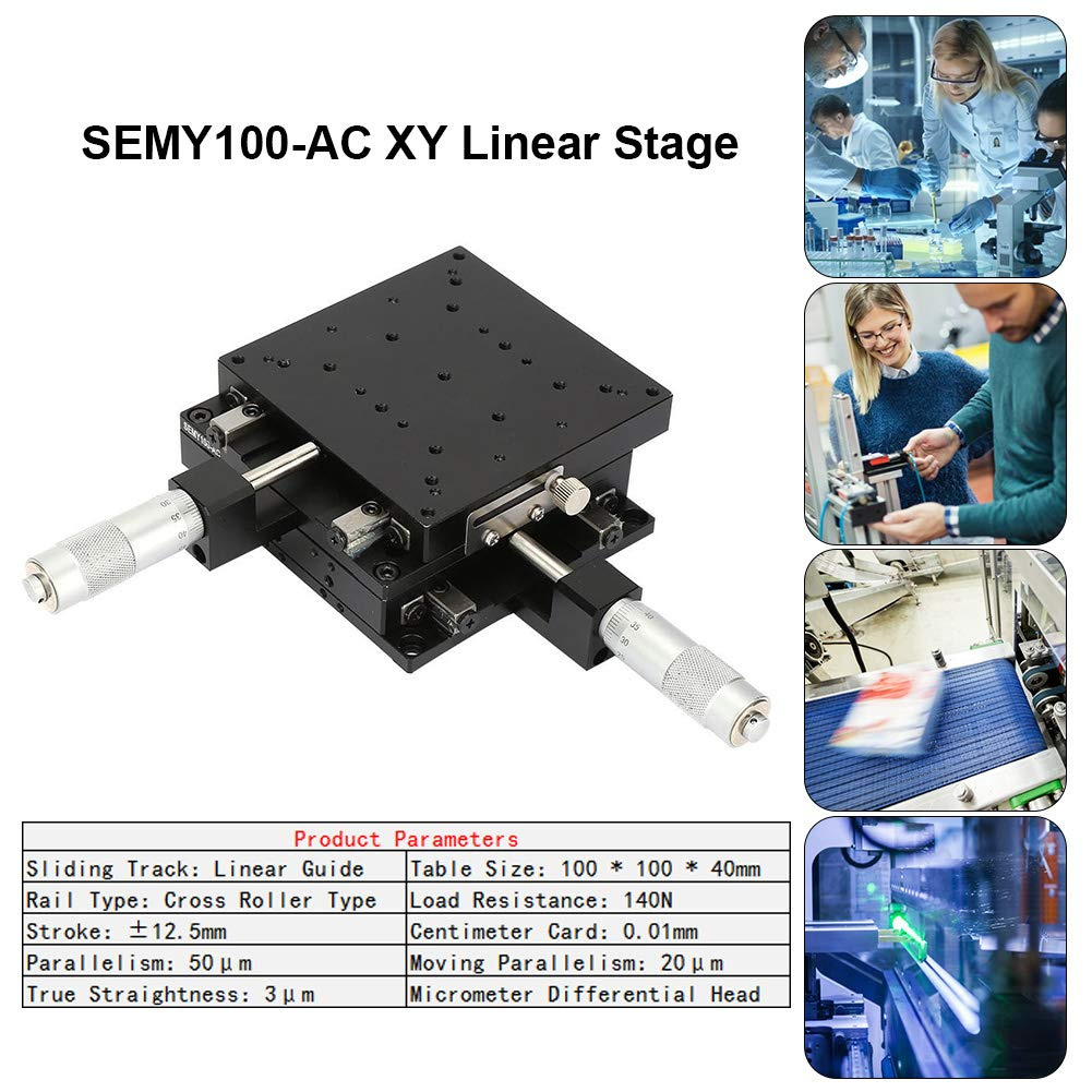 Linear Stages 10010040mm SEMY100-AC Micrometer Manual Slide Table Trimming Platform Cross Roller Stages