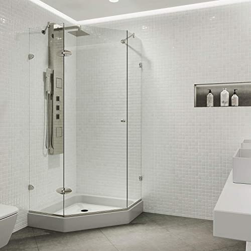 VIGO VG6061BNCL42W Verona 42 x 42 inch Clear Glass Corner Frameless Neo-Angle Shower Enclosure, Hinged Shower Door with Magnalock Technology, Non-Slip White Base, and 304 Stainless-Steel Shower Hardware in Brushed Nickel Finish