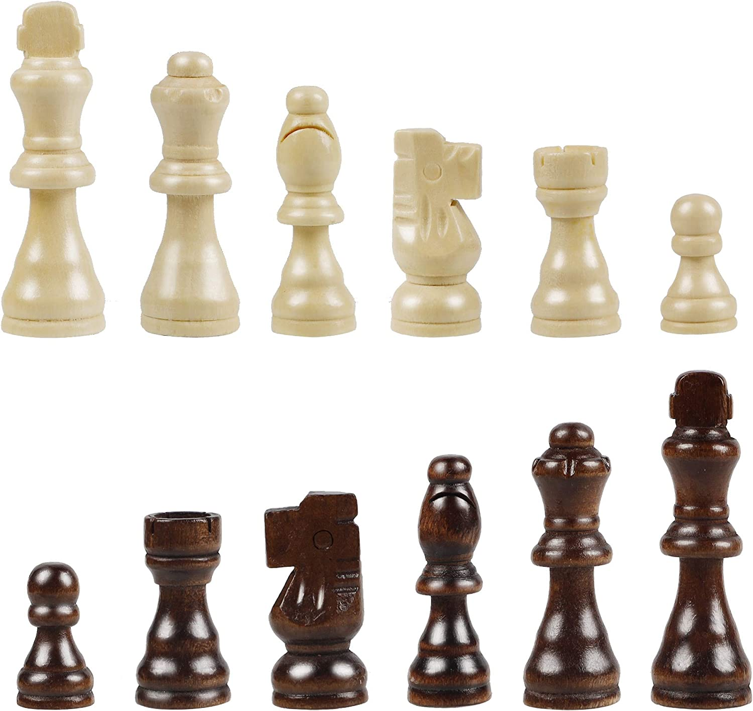 Juegoal Wooden Chess Pieces Only, 32 Pieces Wood Chessmen Pieces, 3 Inch King Figures Chess Game Pawns Figurine Pieces, Replacement of Missing Piece, Includes Storage Bag