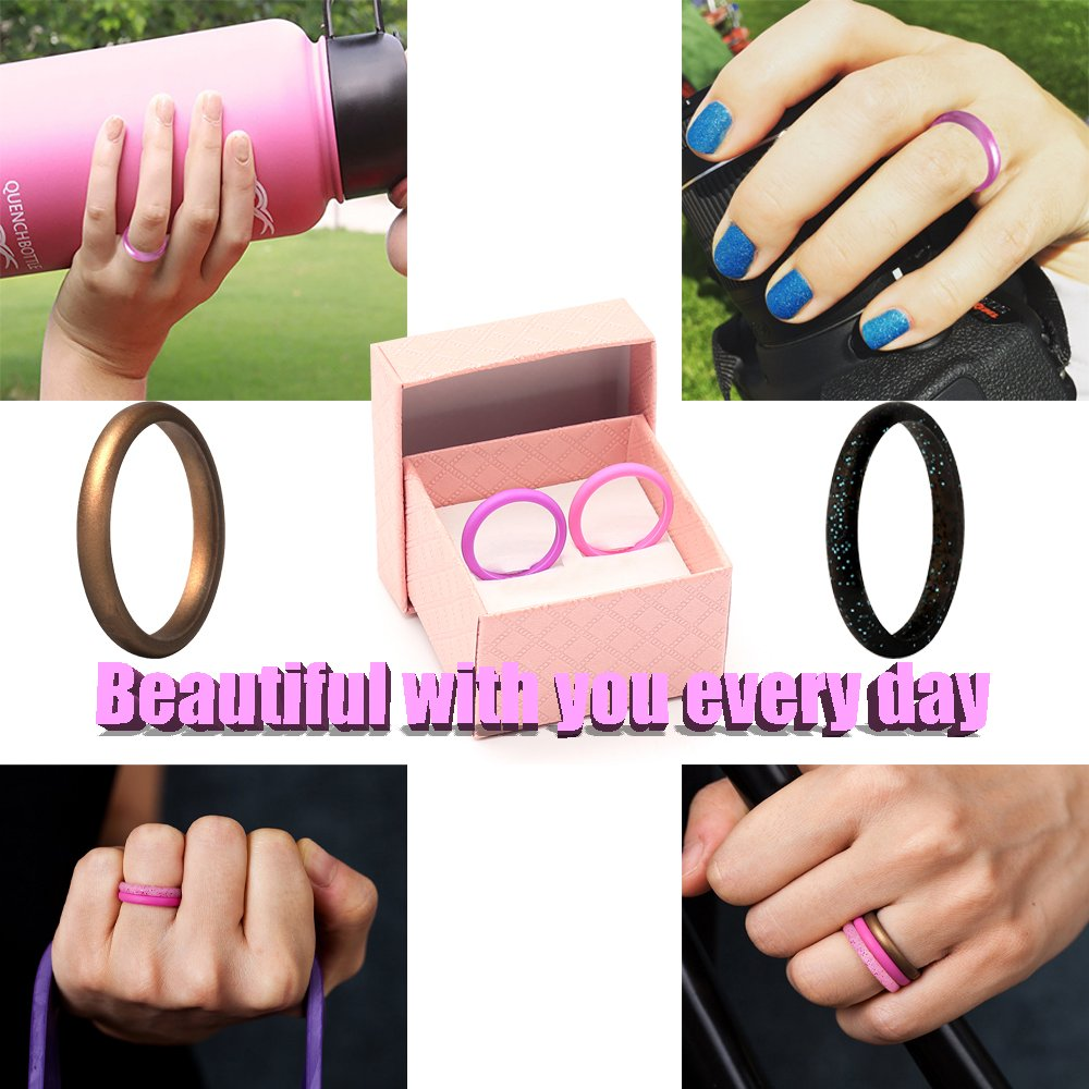 CLAN-X Stackable Silicone Rings, 8 Pack & Singles Silicone Wedding Bands for Women&Men - Diamond Pattern By (pink green black, 7)