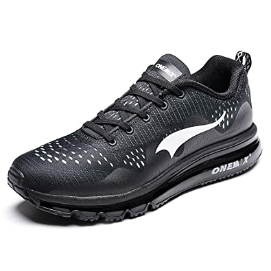 the latest db8be a6301 ONEMIX Air Cushion Breathable Road Running Shoes Athletic Sneakers for Men  (1223, Black US