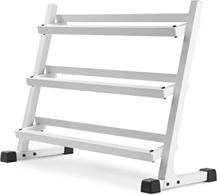 XMark's XM-4439 Deluxe Three Tier Rack with Easy-Reach Tilted Shelves (Choose Gray or White Rack) (White), Dumbbells - Amazon Canada