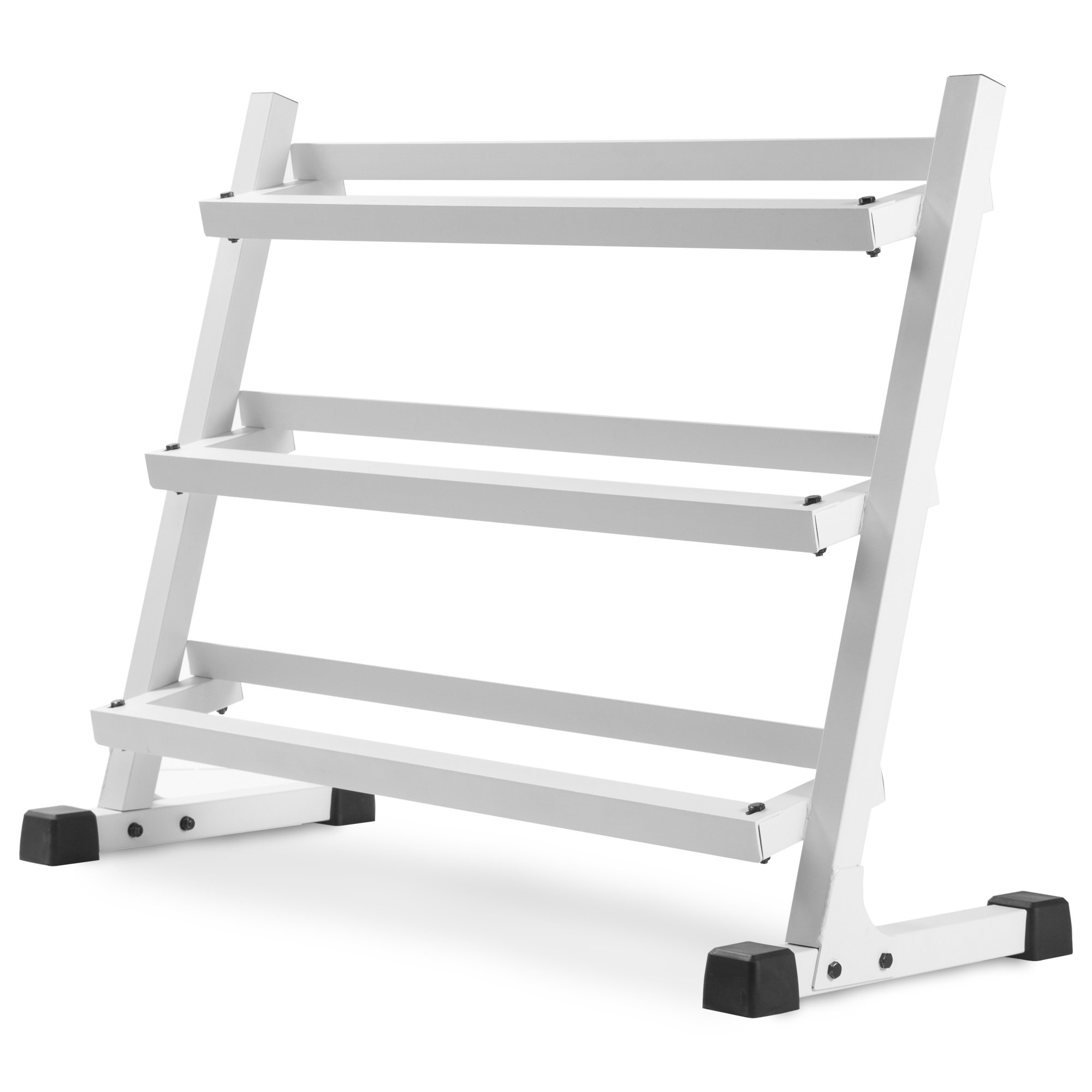 XMark Deluxe Three Tier Rack with Easy-Reach Tilted Shelves (White)