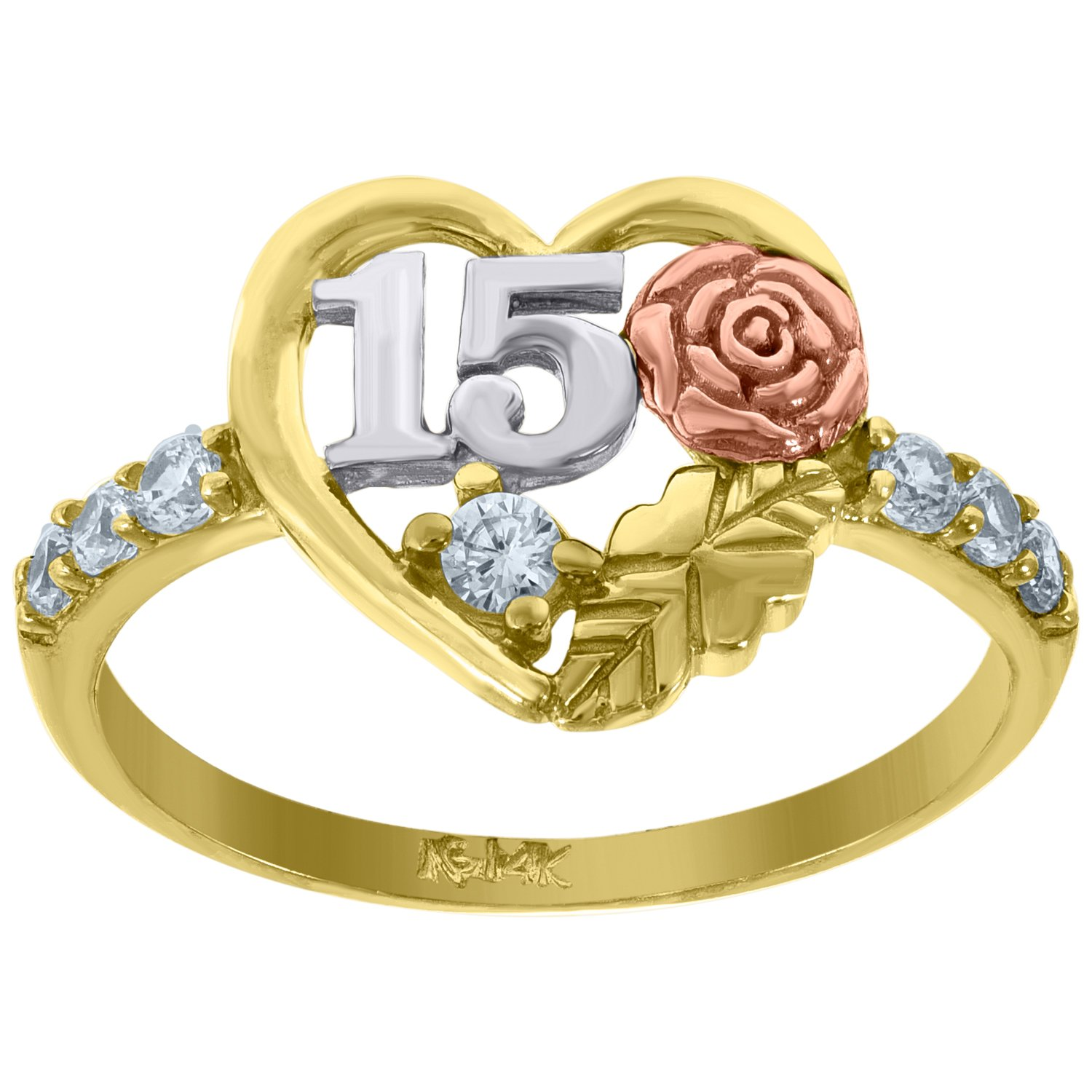 14kt Gold Womens Tri-color CZ 15 Anos Rose Heart SZ7 Quinceanera Ring Band