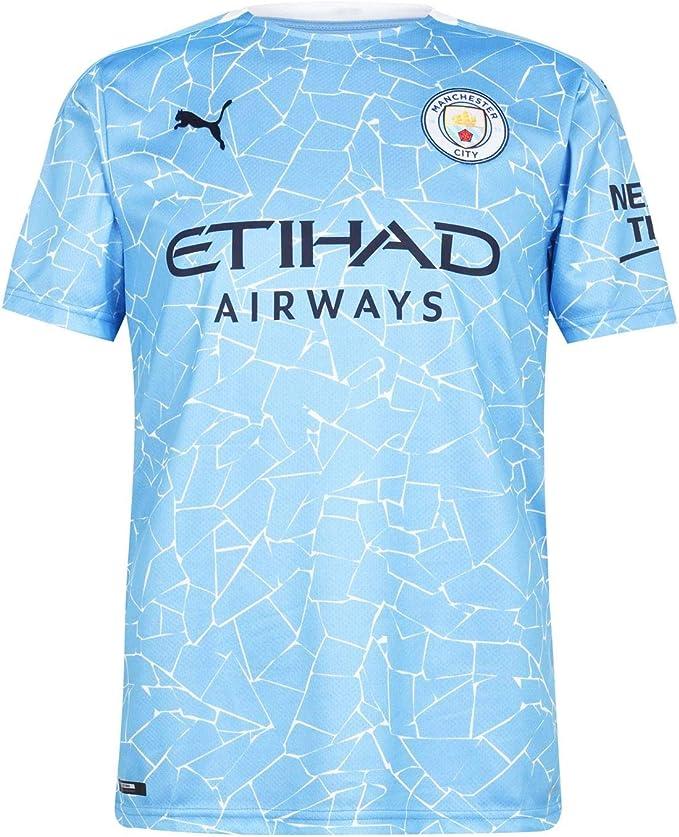 PUMA Maglia Ufficiale Stagione 20/21 Home Manchester City FC Replica con Logo dello Sponsor T-Shirt Uomo