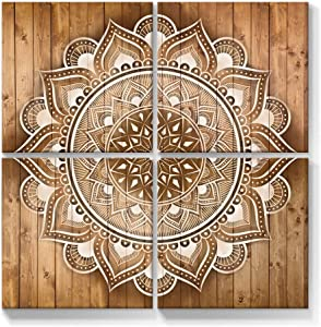 Geeignet Mandala Wall Art Boho Canvas Painting Flower Picture Indian Print Bohemian Home Decor for Bedroom Yoga Living Room Office 12x12 Inch, 4 Panels