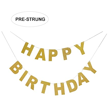 Amazon Com Sparkly Gold Glitter Happy Birthday Banner Birthday