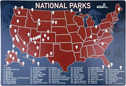Amazon.com: US National Parks Map Fridge Magnet - Travel Map of the ...