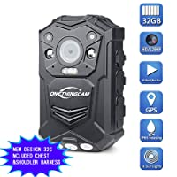 ONETHINGCAM Use Friendly Body Camera Police Camera Full HD 1296P 30fps 32G Memory Have 140 Degree Wide Angle Lens Special Night Vision & GPS Included Chest&Shoulder Harness For Police Guards