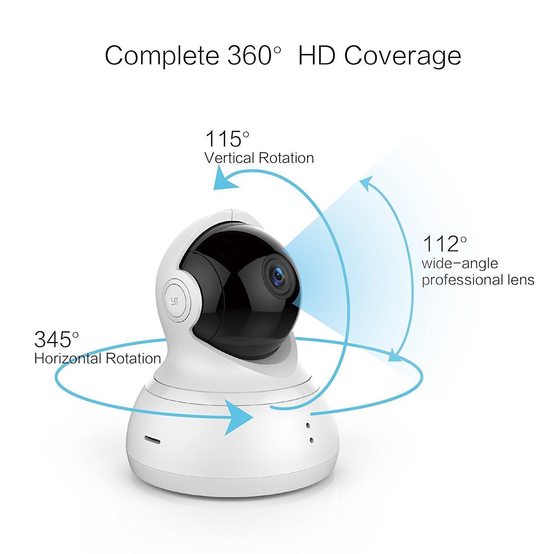 YI Dome Cámara 720P Vigilancia HD Wifi Cámara IP, Smart Home con visión nocturna, movimiento de alarma, Auto giratorio, 2 Vías de audio, Hogar Monitor Baby Monitor, aplicación para smartphone/PC, Yi Cloud Service