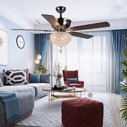 LuxureFan Modern Crystal Ceiling Fan Lihgt With 5 Premium Reverse Wood Leaves And Elegant Lampshade
