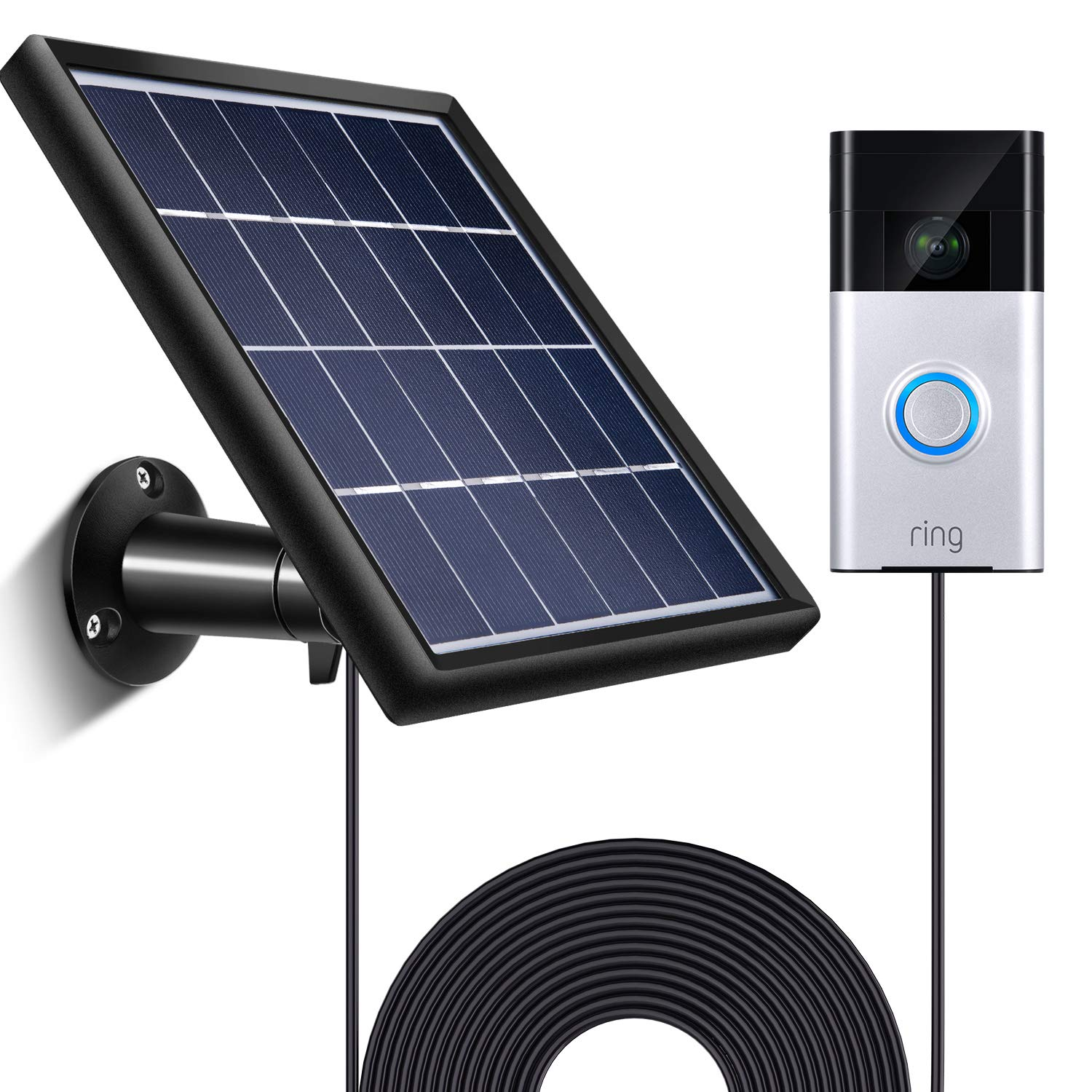 SATINIOR Solar Panel Compatible with Ring Video Doorbell 1, Waterproof Charge Continuously, 5 V/ 3.5 W (Max) Output, Includes Secure Wall Mount, 3.6 M/12 ft Power Cable (No Include Camera)