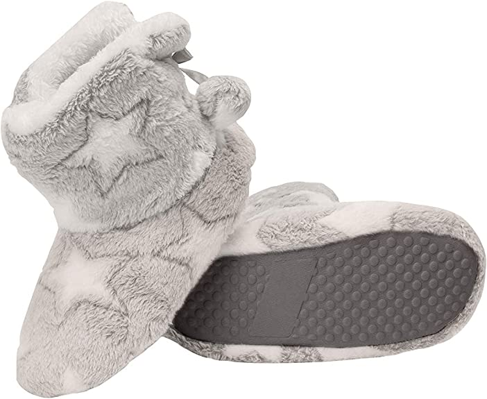 Jessica Simpson Girls Bootie Slippers - Fuzzy Comfy Plush Memory Foam Star Booties Anti-Slip House Slipper Shoe (Grey, Size Large) best kids' slippers