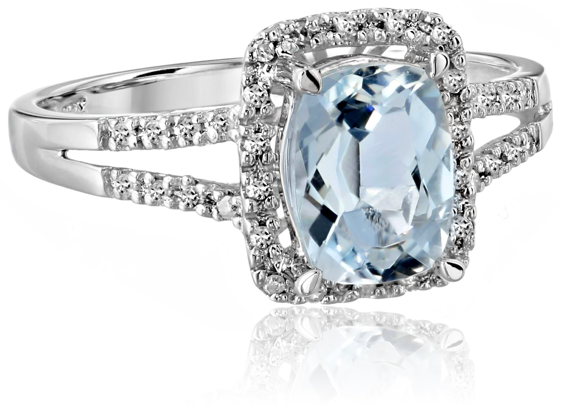 Sterling Silver Classic Aquamarine Diamond Ring (1/10 cttw, I-J Color, I2-I3 Clarity), Size 7