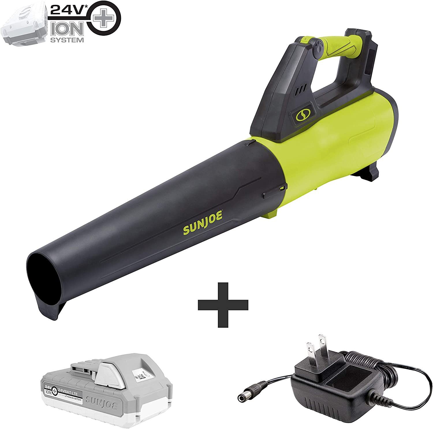 Sun Joe 24V-JB-LTE 24-Volt 385-CFM Amp Turbine Cordless Jet Leaf Blower, Kit w 2.0-Ah Battery Quick Charger