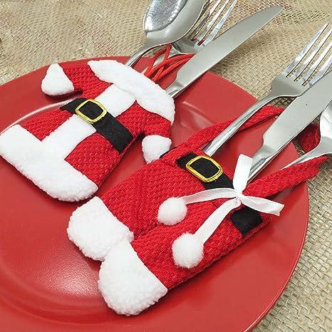 sudook 6 pcs Navidad decoración, cocina cubiertos traje cubiertos titulares cuchillo tenedor, adornos de