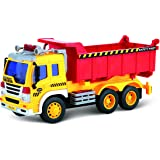 Friction Powered Toy Dump Truck With Lights & Sound TG640-D – Friction Truck Toy By ThinkGizmos (Trademark Protected)