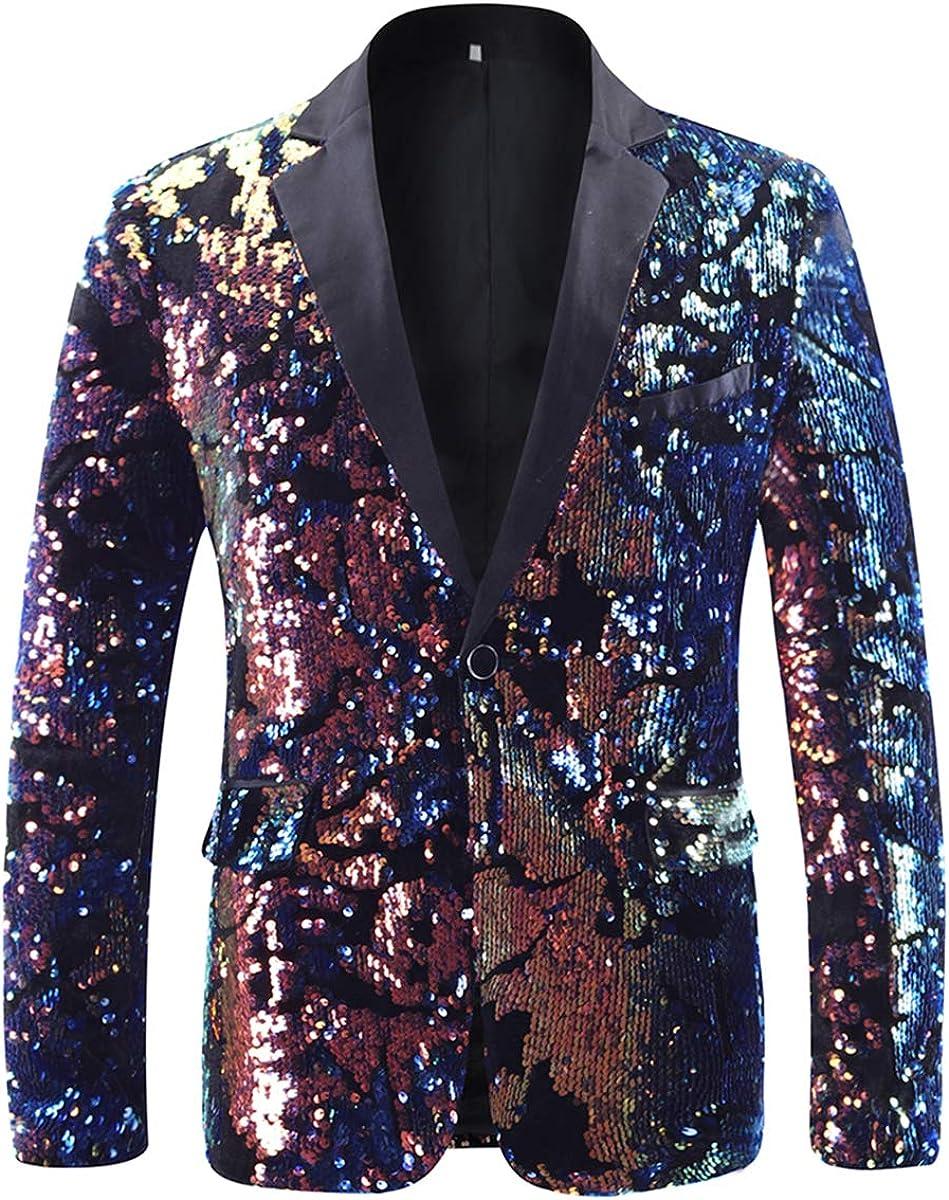 Mens Tux Blazer 1 Button Reversible Sequins Sport Coat Dance Party Jacket