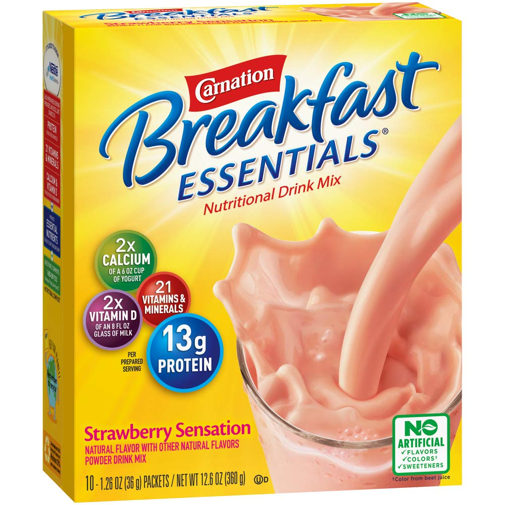 Carnation Breakfast Essentials Powder Drink Mix, Strawberry Sensation, 10 Count Box of 1.26 Ounce Packets (Pack of 6)
