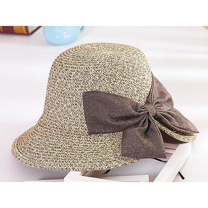 Aolvo donna cappello all  uncinetto paglia Sun Beach UPF50 pieghevole  paglietta cappello estivo a tesa completo ... d82d44dc8430