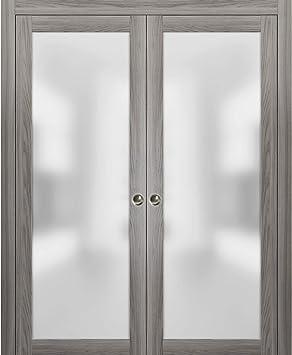 Puertas de cristal para armario de doble bolsillo modernas, Planum 2102 ceniza de jengibre, marco de bolsillo, tiradores de riel, puertas correderas interiores de madera maciza, vidrio esmerilado: Amazon.es: Bricolaje y herramientas