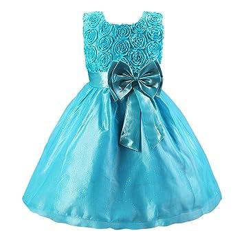 Katara Vestido de noche para Niña con flores y con arco, color Azul, talla
