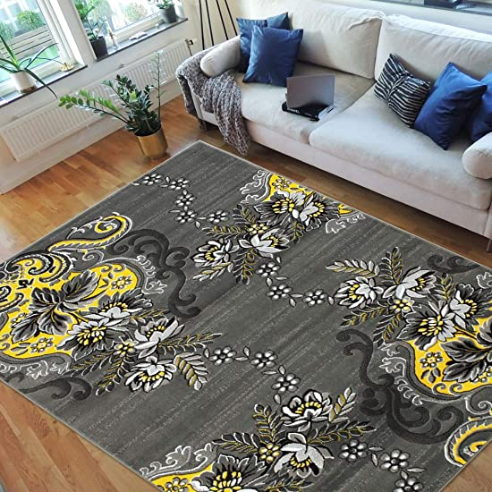HR-Floral Swirlls Design Pattern Modern Area Rug Electric Yellow Grey Silver Black-Abstract Contemporary 7 8 X10
