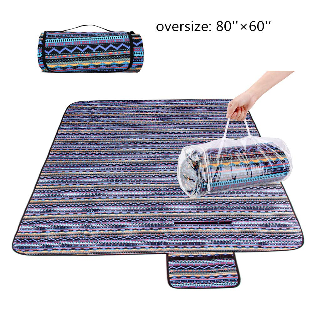 xinting Extra Large Outdoor Picnic Blanket (80''x 60'') Beach Mat,Sand Proof and Waterproof Picnic Blanket Tote Bag for Camping Hiking Grass Travelling by xinting