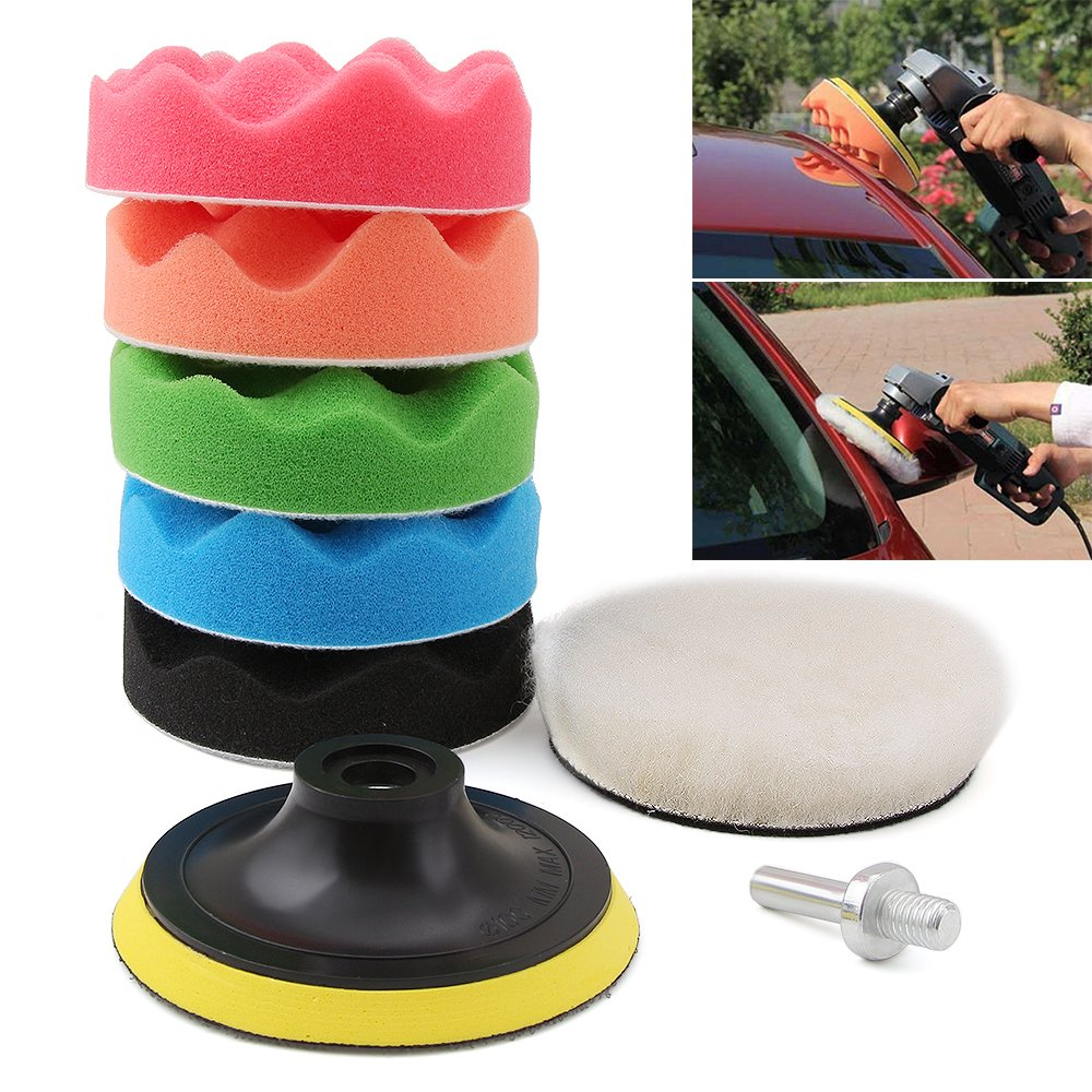 Drill Buffer, Mothers Mag and Aluminum Polish, Car polishing Wax Buffing Polishing Pad Kits-7PCS 4 inch Sponge and Woolen Polishing Pads