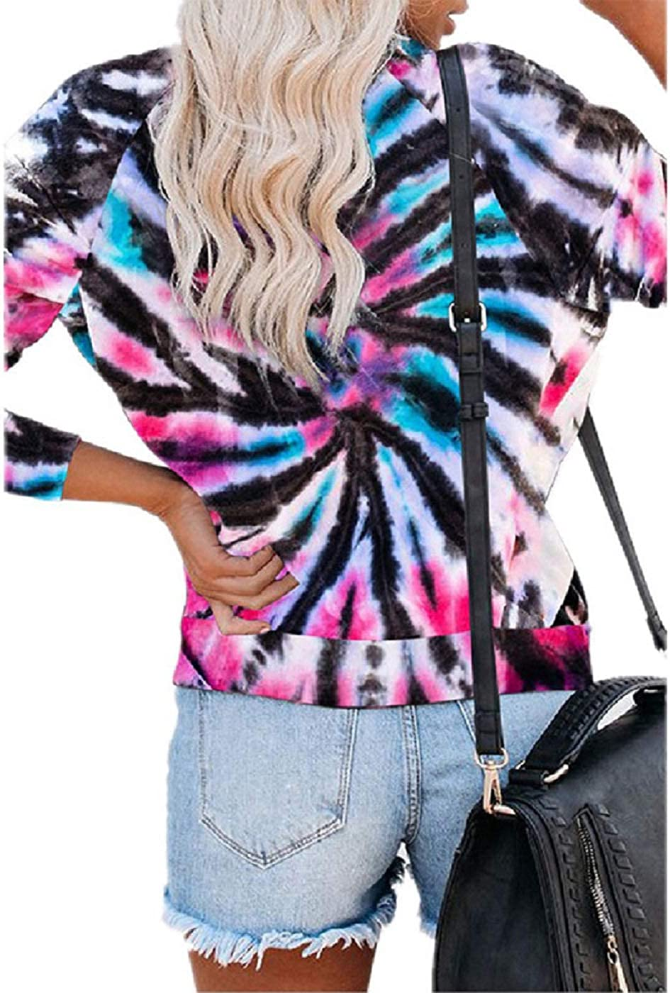 Womenss Casual Pullover Blouses Tops Long Sleeve Tie Dye Sweatshirt Crew Neck Loose T Shirts