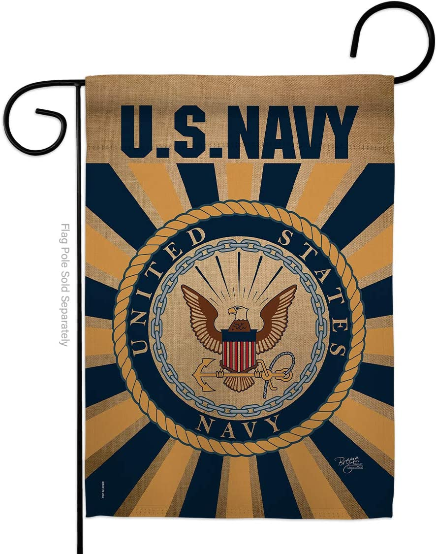 Breeze Decor Navy Garden Flag Armed Forces USN Seabee United State American Military Veteran Retire Official Small Decorative Gift Yard House Banner Double-Sided Made in USA 13 X 18.5