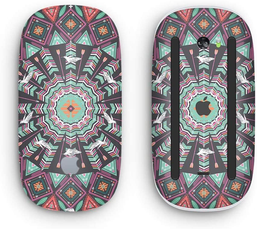 Mirrored Coral and Colored Vector Aztec Pattern Design Skinz Premium Vinyl Decal for The Apple Magic Mouse 2 with Multi-Touch Surface Wireless, Rechargable