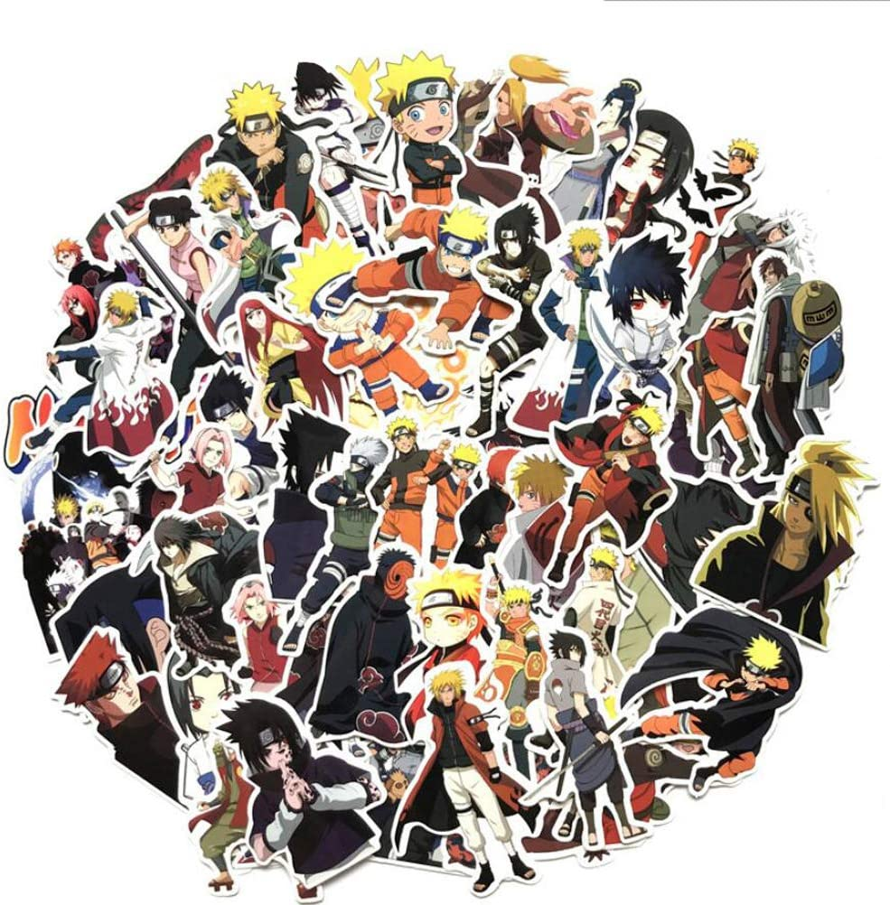 63pcs Naruto Decals Anime Cartoon Stickers Waterproof Sunlight-Proof DIY Ideals for Cars, Motorbikes, Portable luggages, Laptops