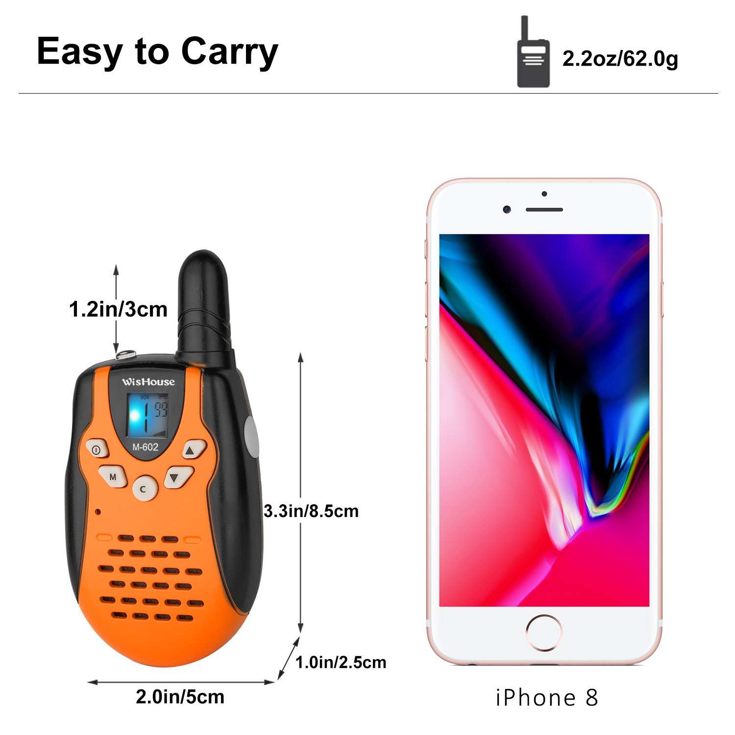 WisHouse Mini Durable Toy Walkie Talkies Kids Boys Girls Flashlight as Festival Gifts/Long Range Childrens 2 Way Radio Walky Talky Sets Camping Hiking (M602 Orange 4 Pack) by Wishouse (Image #5)