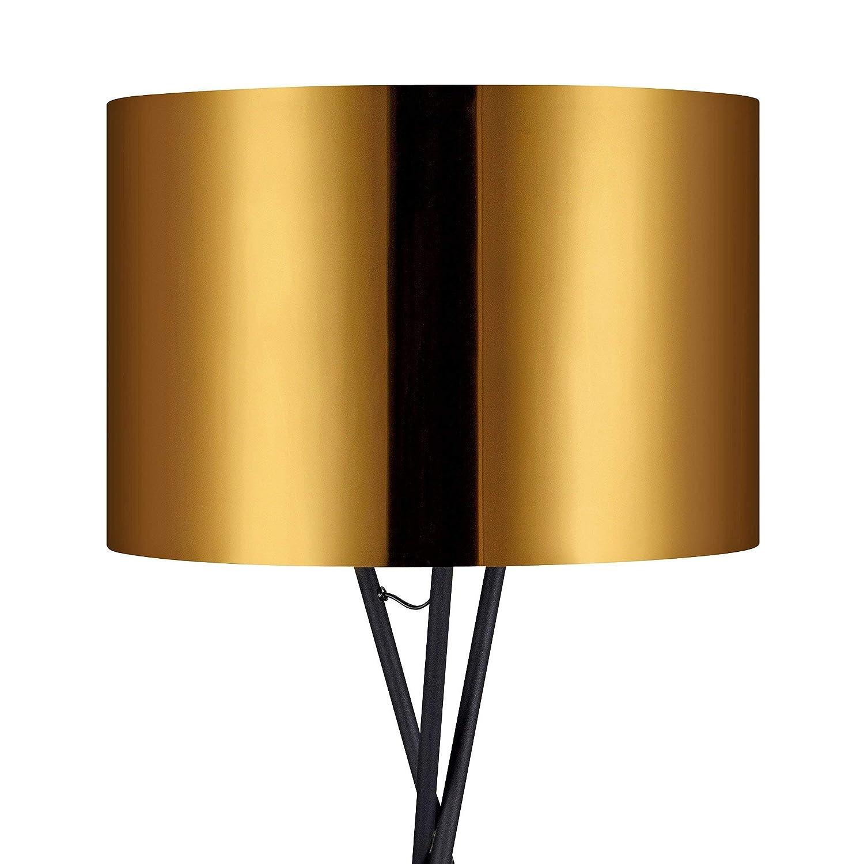 735259c9 Lampadaire Cara Trépied Lampe De Sol Sur Pied Abat-jour Doré VN-L00001-EU  Lampadaires