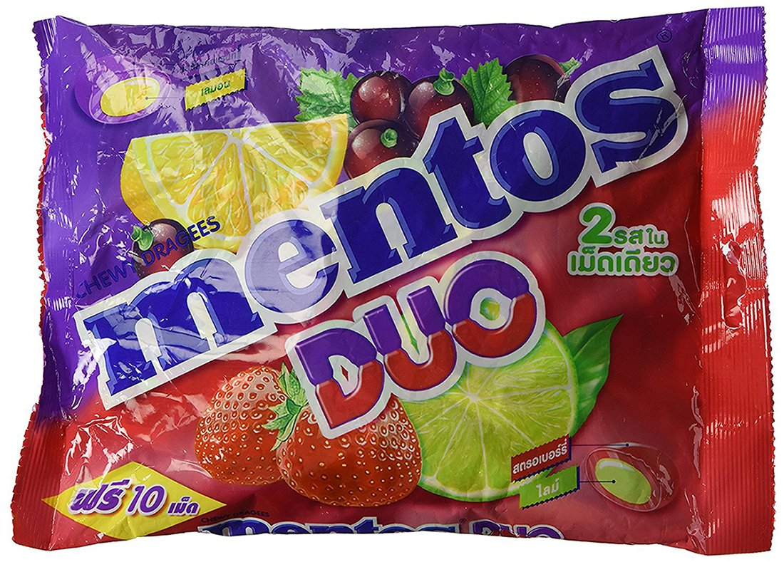 Mentos Chewy Mints Assorted Fresh Mixed Fruit Variety Candy, Strawberry/Lime/Lemon/Blackcurrent, 10.50 Ounce