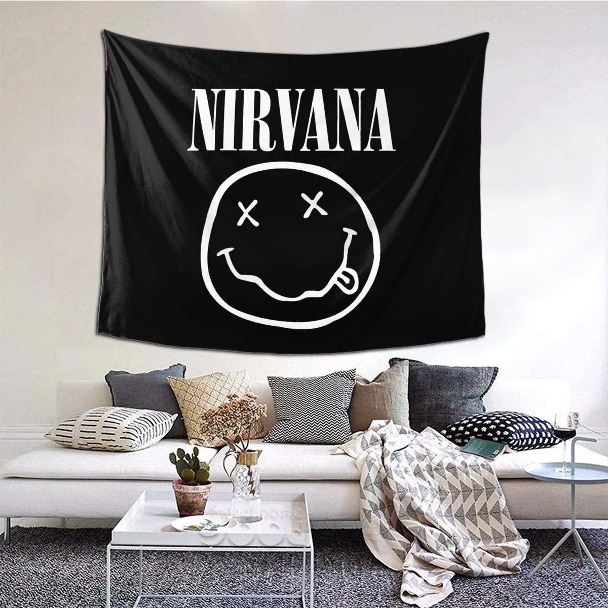 Nirvana Tapestry, Wall Hanging Tapestries Decor Blanket Wall Art For Living Room Bedroom Home 60 X51Inch