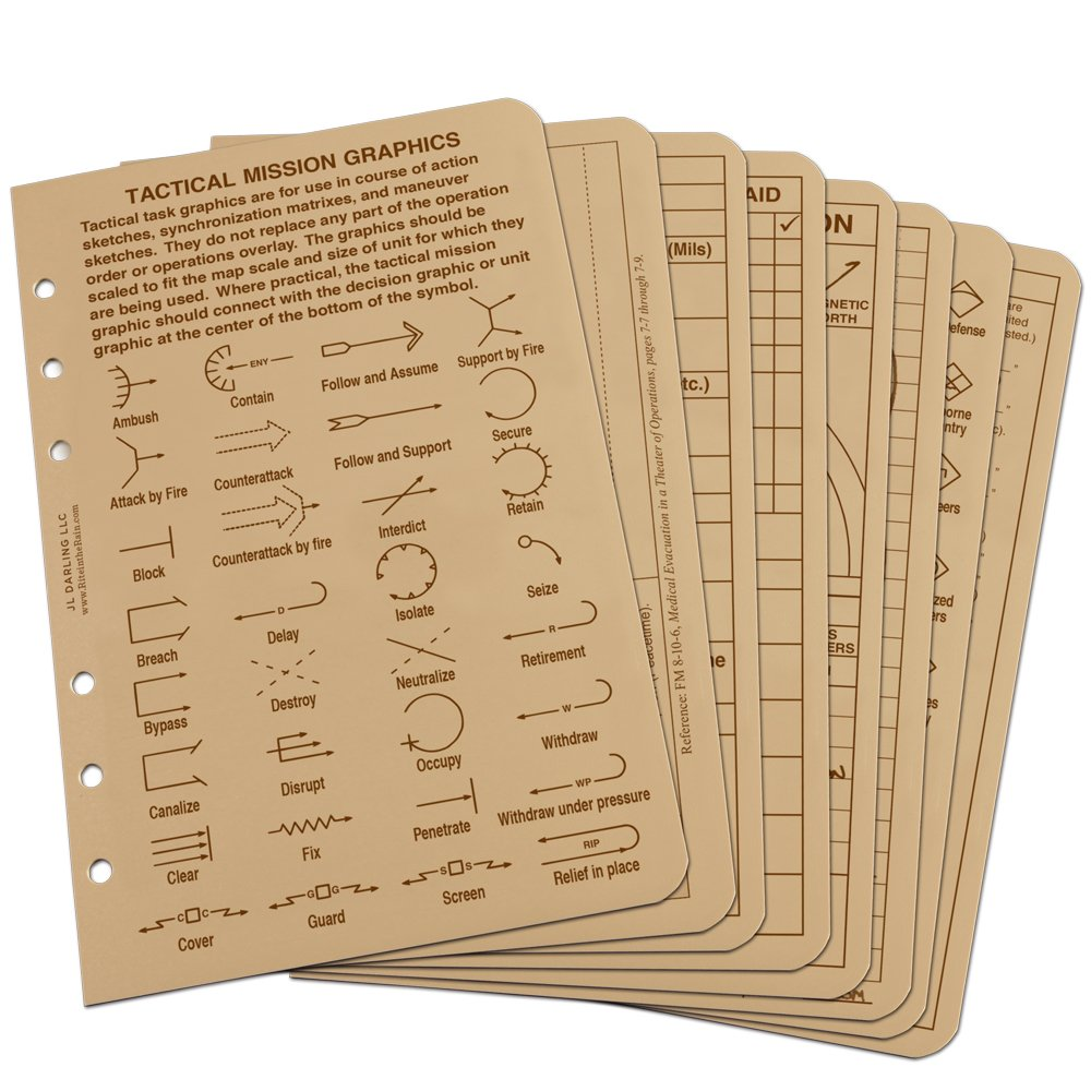 "Rite in the Rain All Weather Tactical Reference Card Set, 4 5/8"" x 7"", Tan Sheets (No. 9200T-R)"