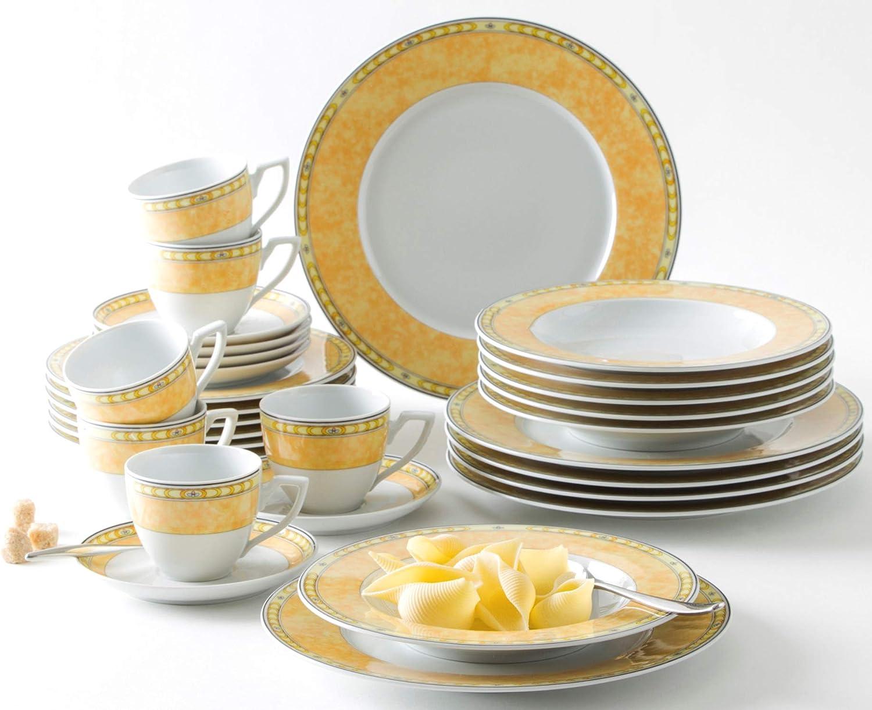 18 pi/èces blanc avec ailes d/écor/ées Bidasoa Aruba Service de table en porcelaine pour 6 personnes