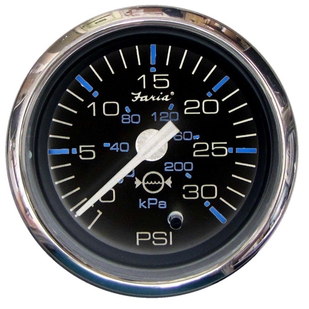 Faria Chesapeake Black SS2 Water Pressure Gauge Kit - 30 PSI (54630)